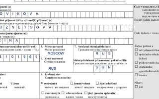 Наглядный образец заполнения анкеты на визу в Чехию