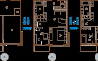 Последовательность перепланировки двухкомнатной квартиры хрущевки в трехкомнатную